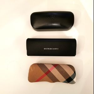 3 eyeglass' cases coach and burberry